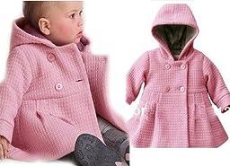 SOPO Baby Girls Overcoat Hoodie Winter Jacket Outerwear 9-24m Pink