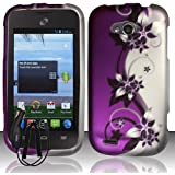 ZTE SAVVY Z750C PURPLE SILVER VINES COVER SNAP ON HARD CASE + FREE CAR CHARGER from [ACCESSORY ARENA]