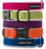 "Planet Dog Cozy Hemp Adjustable Collar, Apple Green, Medium (12-19"")"
