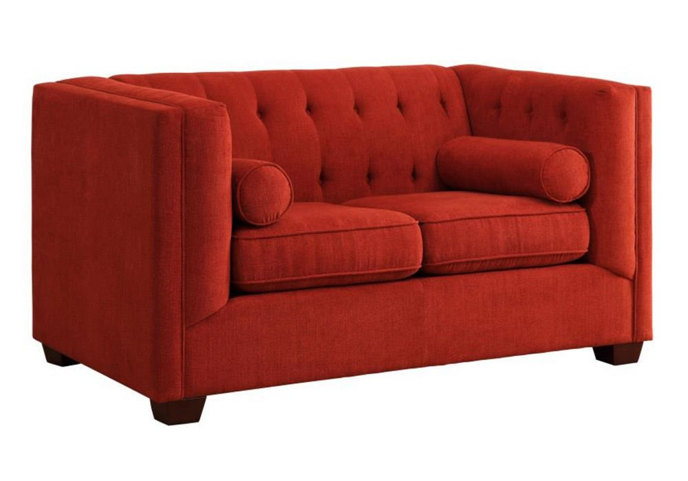 1PerfectChoice Cairns Modern Tufted Back Sofa Loveseat Couch Chair Crimson Microvelvet Option Type: 2-Seater Loveseat