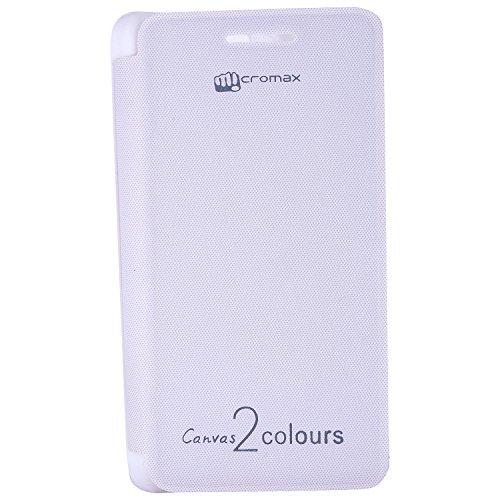 Dashmesh Shopping Durable Premium Flip Cover for Micromax Canvas 2 Colors A120 WHITE color + Free Screen Guard