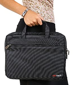 Navitech Black Sleek Premium Water Resistant Shock Absorbent 13.1 to 15.4 Laptop/ Notebook Carry Bag Case For The Fujitsu Siemens Esprimo Mobile M9410, Fujitsu Siemens Lifebook S7220, LIFEBOOK P3110, Fujitsu-Siemens U9210, Lifebook t900, lifebook t730, c
