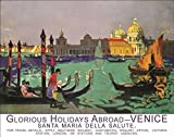 Venice Gondola Italy Italian Holiday Abroad Old Art Deco - Retro Vintage Advert for home, shop, cafe, shop or pub Small Metal/Steel Wall Sign