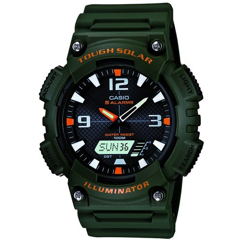 Casio Men's Quartz Watch with Black Dial Analogue - Digital Display and Green Resin Strap AQ-S810W-3AVEF