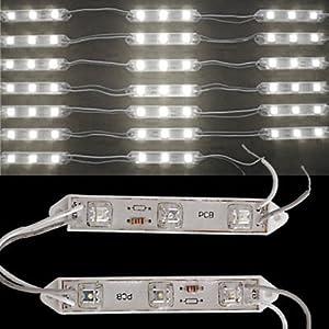 Sonline 20 Mdulo de 3 LED Piraa Blanca 12V resistente al agua exteriores - BebeHogar.com