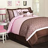 Lush Decor Leopard 5-Piece Comforter Set, Twin, Brown/Pink