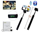 Ipow Extendable Self-portrait Wireless Bluetooth Remote Camera Shooting Shutter Monopod Selfie Handheld Stick Pole with Mount Holder Specially Designed for Iphone 6 5s 5c 5 4s 4 Samsung Galaxy S5 S4, S3, S2, Note 2, Note 3,black