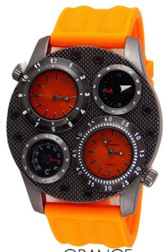 Dual Time Thermometer Compass Orange Mens Geneva Watch