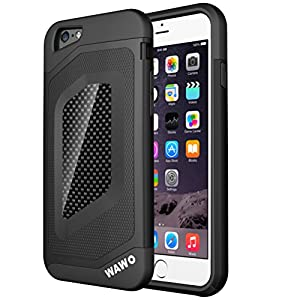 iphone 6 Case - WAWO Sport Luxury Fashion [ Carbon Fiber Trim ] TPU + PC Double Protection Shell for Apple iphone 6 4.7