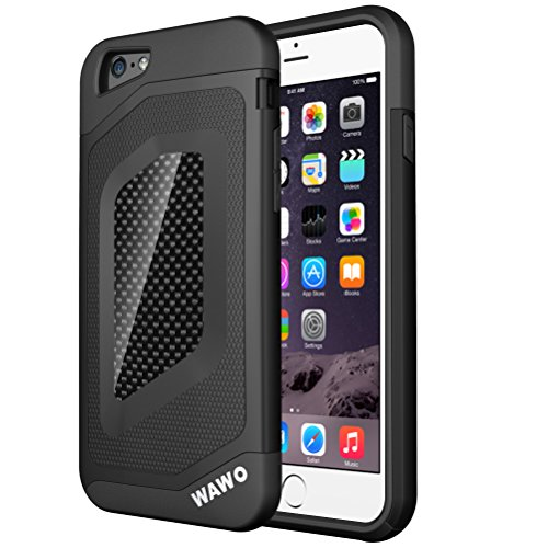 WAWO Iphone 6 PLUS Case – Full Protection Carbon Fiber Patch Case for Apple Iphone 6 PLUS 5.5 Inch (Black)