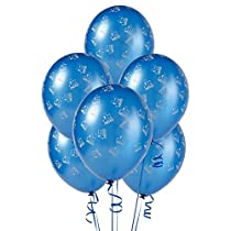 Mid Blue with Trains Matte Balloons (6)