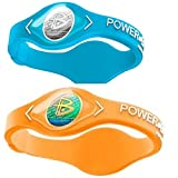 Power Balance Silicone Sports Wristbands-AquaBlue-PB-Neon-Orange-M-Pack-of-2