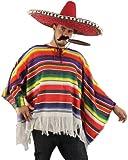 ILOVEFANCYDRESS® MEXICAN PONCHO - MULTI-COLOURED MENS LADIES (NO SOMBRERO OR ACCESSORIES)
