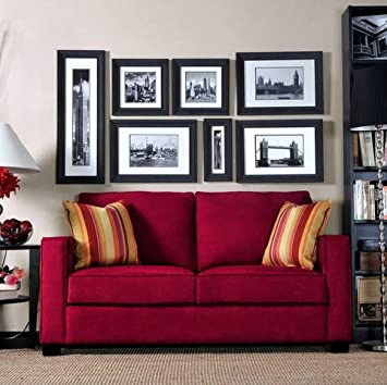 Portfolio Madi Crimson Red Squared Arm Modern Microfiber Loveseat Sofa with Wine Striped Accent Pillows