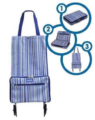 Shopping Bag with Wheels Pattern: Blue Stripe