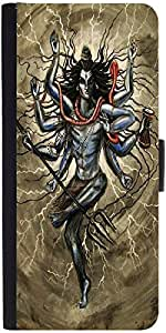 Snoogg Shiva Tandava Graphic Snap On Hard Back Leather + Pc Flip Cover Samsun...