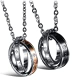 SunnyHouse Jewelry His & Hers Matching Set Titanium Stainless Steel Couple Pendant Necklace Korean Love Style in a Gift Box (One Pair)