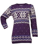 Women Christmas Fair isle Retro Knitted Long Novelty Jumper Sweater Top Dress