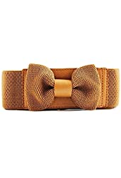 Women Ladies Fashion Wide Elastic Stretch Bowknot Waistband Bow Waist Belt
