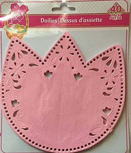 Die Cut Tulip Shaped Paper Doilies - 40 Count Pink