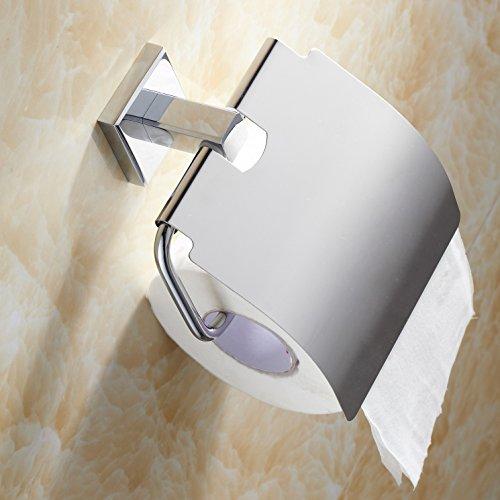Weare Home Modern Einfach Elegant Design alle Messing Chrom finished Silbern Toilettenpapierhalter Klorollenhalter Wandmontag Wandhalterung Bohren mit Deckel Wasserdicht für Badezimmer Dusche Küche