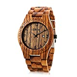Wooden Watches for Men or Women with Calendar,GBlife Casual Retro Series/Lightweight / Natural/Handmade / Adjustable Wood Watch Band/Thin Case Quartz Wrist Watch