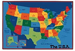 Carpets for Kids 48.95 USA Map 4 ft. x 6 ft.