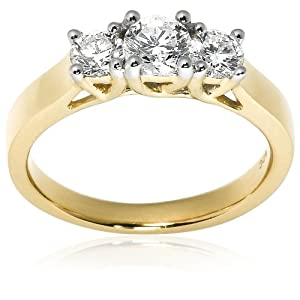 14k Yellow Gold 3-Stone Diamond Ring (1 cttw, H Color, SI2 Clarity), Size 8