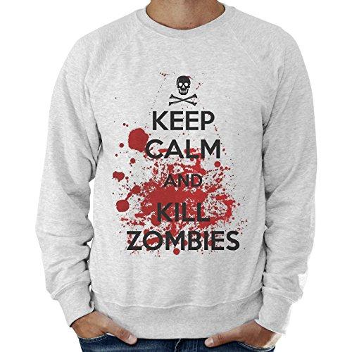 Felpa Leggera Uomo Keep Calm And Kill Zombies The Walking Dead - Grigio