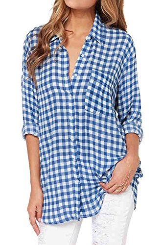 Women's Plaid Checked Long Sleeve Shirt