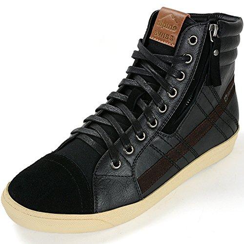 Alpine Swiss Mens Reto Black Canvas & Suede High Top Sneakers 12 M US Alpine Stripe