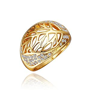 DUMAN 18K Yellow Gold Plated White Hollow Leaf Ring Swarovski Elements Crystal, Size 8 from DUMAN
