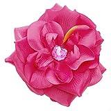 Girls Dark Pink Rose Hair Accessory Clippie