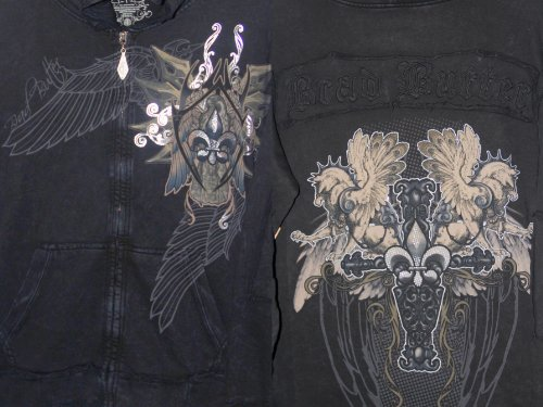 Brad Butter Black Distressed Hoodie with Silver Foil Fleur de Lis Crest on Front & Rear-Brad Butter Applique Logo below Nape of Neck & Medieval Fantasy Winged Birds.Hoodie is 100% Cotton.Perfect for New Orleans Saints Fans or for anyone who Celebrates the Rebirth of New Orleans! XL at Amazon.com