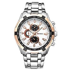 Luxury Stainless Steel Analog Display Men Quartz Watch Casual Watch Men Wristwatch Silver