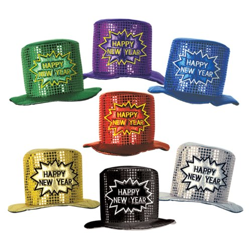 Beistle 1-Pack Glitz N Gleam Happy New Year Top Hats - 1
