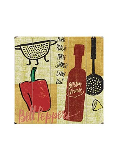Kitchen Play Bell Peppers Wood Wall Décor, Brown/Red