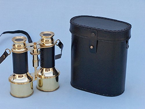 "Solid Brass Binoculars W/ Leather Belt And Leather Case 6"" - Nautical Decor"