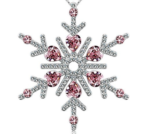 [Daesar Gold Plated Necklaces Womens Austria Crystal Simulated Ruby Necklace Snowflake Birthstone] (Snow White Princess Costume Ebay)
