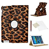 Leopard Case for Samsung Galaxy Tab 3 7 Inch (T210 / T211 / P3200) / PU Leather with 360 Degree Rotating Swivel Action for Portrait and Landscape Display by PulseTec Accessories / Free Screen Protector and Stylus Touch Pen