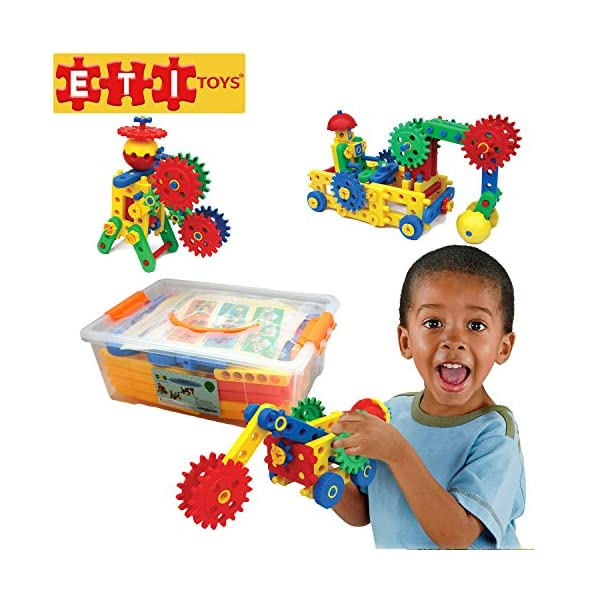 dce69412a ETI Toys – Ultimate Blocks   Gears for Boys and Girls 109 Piece Set for  Building Endless Creations with Gears