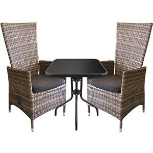 3tlg bistrogarnitur bistro set balkonm bel bistrotisch 60x60cm alu poly rattan. Black Bedroom Furniture Sets. Home Design Ideas