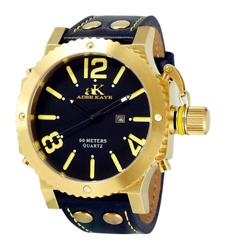 Adee Kaye Mondo G2 ak7211-MG 63.32x53.24mm Stainless Steel Case Black Calfskin Mineral Men's Watch