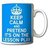 Keep Calm and Pretend Its On The Lesson Plan Baby Blue Mug Cup Gift Retro