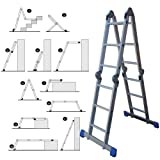 Wolf 11 in 1 Aluminium 3.7M Multi Purpose Folding Ladder with Steel Platform Trestle Inserts Use On Staircase Step Work Bench EN131