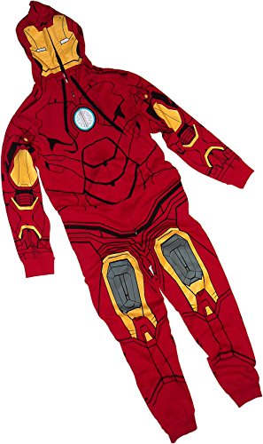 Iron Man Costume -- Hooded Fleece One-Piece Union Pajamas