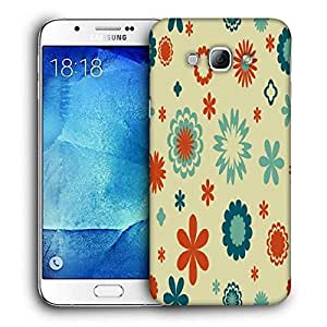 Snoogg Cream Pattern Flowers Printed Protective Phone Back Case Cover For Samsung Galaxy A8