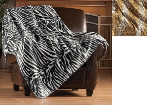 Animal Print Fleece Throw Blanket Zebra back-925532