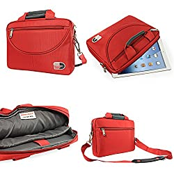 DMG Brinch Premium Nylon Felt Messenger Bag Case with Handle and Multiple Accessory Pockets for Samsung Galaxy Tab S2 T810 9.7in Tab (Red)