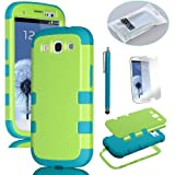 Pandamimi ULAKTM 3in1 Green Hybrid High Impact + Blue Silicone Case Cover For Samsung Galaxy S3 III I9300 W/Screen Guard+Stylus